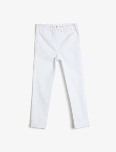 Koton Kids Cep Detayli Pantolon Beyaz